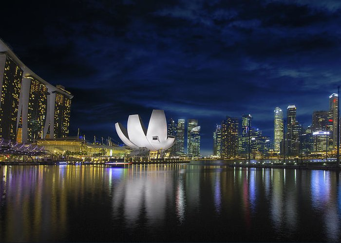Singapore Greeting Card featuring the photograph Singapore Skyline By River Waterfront At Dusk by Jit Lim