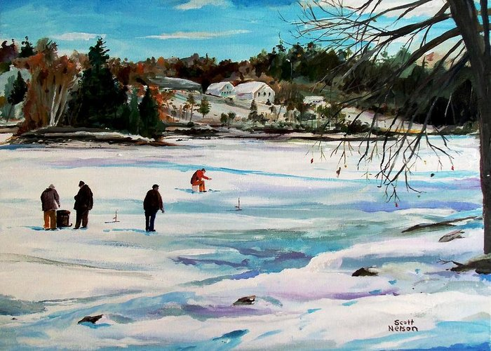 Millbury Greeting Card featuring the painting Singeltary Lake Ice Fishing by Scott Nelson