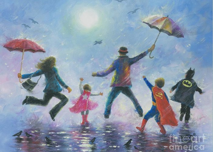 Happy Family Greeting Card featuring the painting Singing In The Rain Super Hero Kids by Vickie Wade