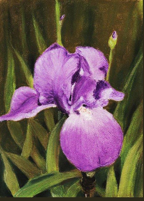 Plant Greeting Card featuring the painting Single Iris by Anastasiya Malakhova
