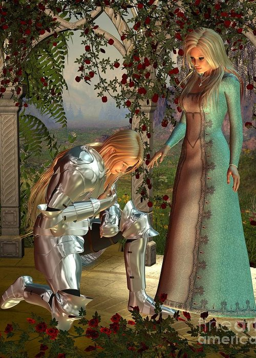 Knight Greeting Card featuring the digital art Sir Launcelot And Queen Guinevere by Fairy Fantasies