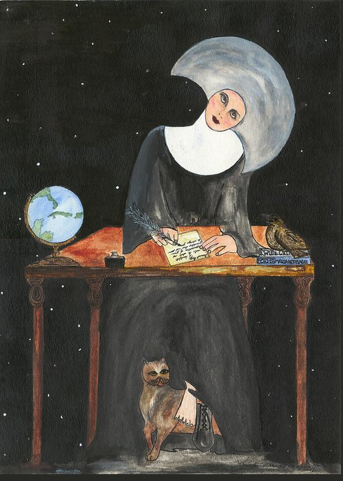 Nun Greeting Card featuring the painting Sister Margaret by Lupita Fernandez Soberon
