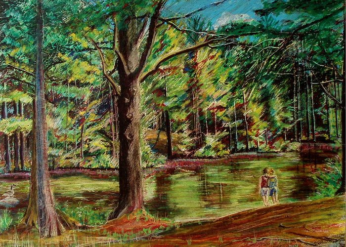 New Hampshire Greeting Card featuring the pastel Sisters At Wason Pond by Sean Connolly