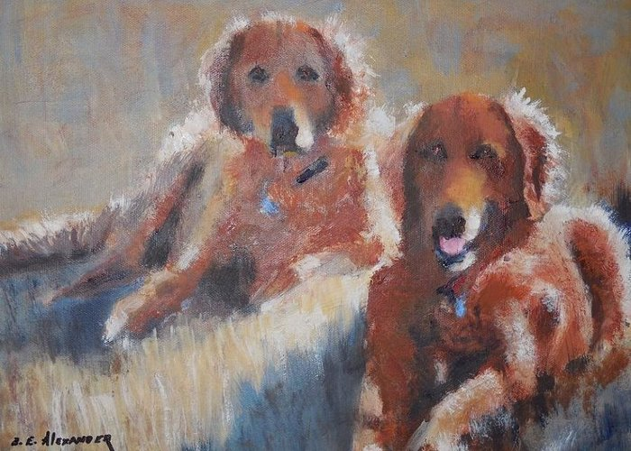 Golda And Sandy Relaxing Greeting Card featuring the painting Sisters by Bryan Alexander