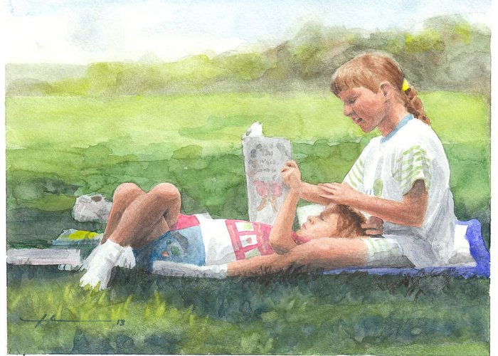 <a Href=http://miketheuer.com Target =_blank>www.miketheuer.com</a> Sisters Reading Watercolor Portrait Greeting Card featuring the drawing Sisters Reading Watercolor Portrait by Mike Theuer