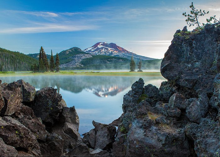 South Sister Greeting Card featuring the photograph Sisters Sunrise by Manju Shekhar