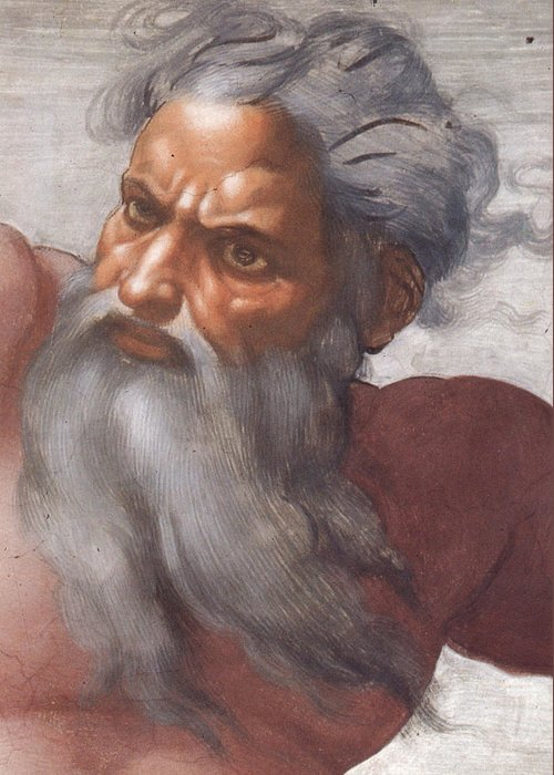 Renaissance; High; Old Testament; Genesis; God The Father; Skies; Sky; Father; Creator; Beard; Bearded; Close-up; Grey; Old; Angry; Male; Sistine Greeting Card featuring the painting Sistine Chapel Ceiling Creation Of The Sun And Moon by Michelangelo Buonarroti