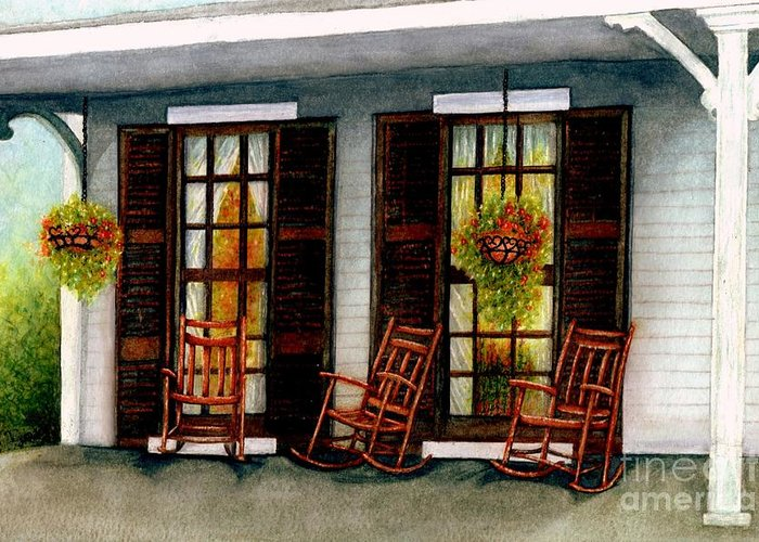 Rocking Chairs Greeting Card featuring the painting Sit A Spell by Janine Riley