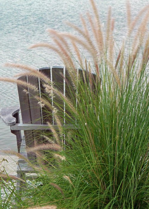 Chair Greeting Card featuring the photograph Sitting By The Seawall by Sharla Gentile