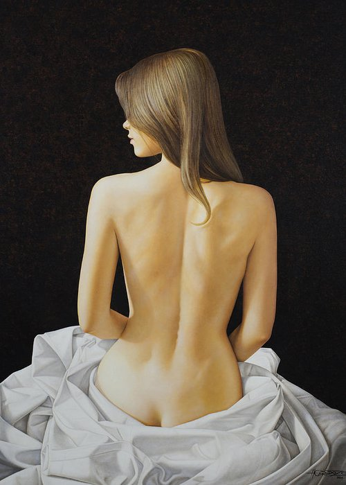 Woman Greeting Card featuring the painting Sitting Nude by Horacio Cardozo