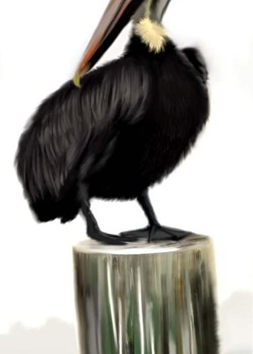 Pelican Greeting Card featuring the painting Sitting Tall by Greg Neal