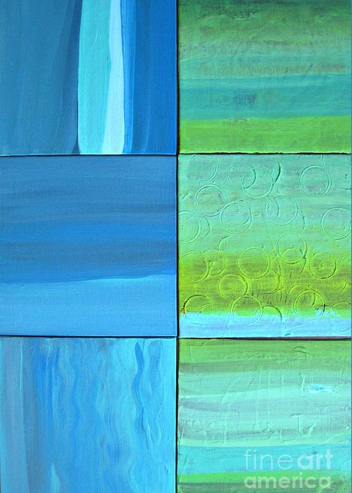 Abstract Art Greeting Card featuring the painting Six Blue Tiles by Angela Fisher