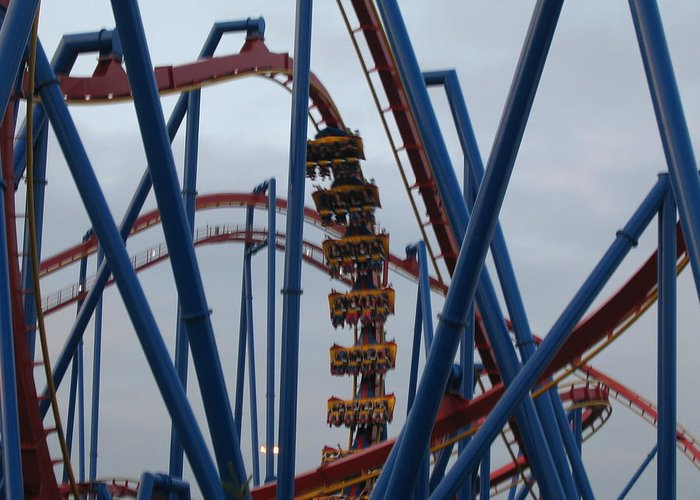 Six Greeting Card featuring the photograph Six Flags Great Adventure - Medusa Roller Coaster - 12125 by DC Photographer