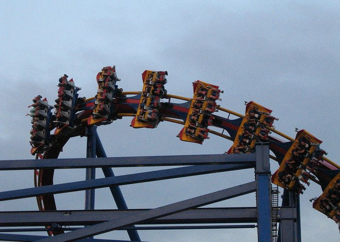 Six Greeting Card featuring the photograph Six Flags Great Adventure - Medusa Roller Coaster - 12127 by DC Photographer