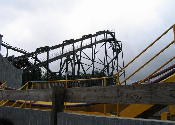 Six Greeting Card featuring the photograph Six Flags Great Adventure - Nitro Roller Coaster - 12122 by DC Photographer