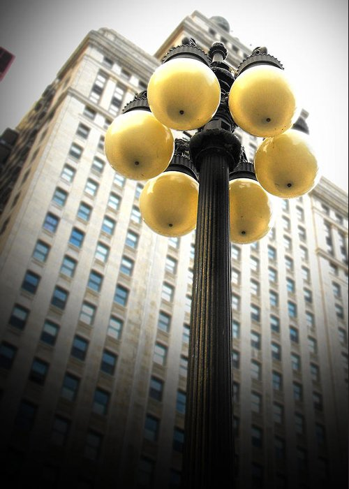 Chicago Greeting Card featuring the photograph Six Light Lamp Post by Richelle Munzon