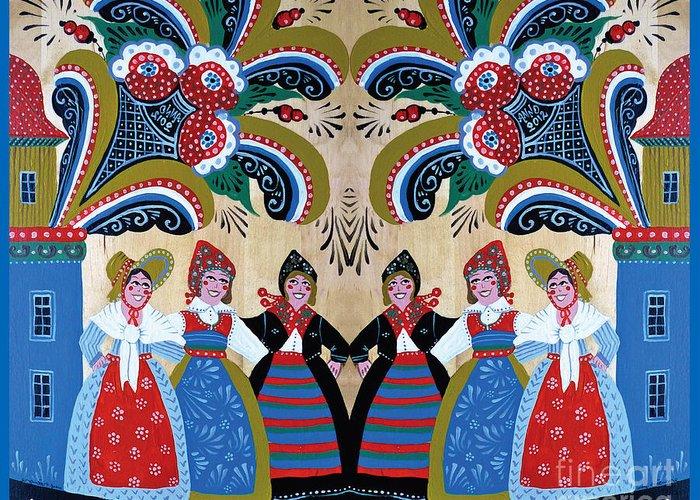 Swedish Folk Art Greeting Card featuring the mixed media Six Women Dancing by Leif Sodergren
