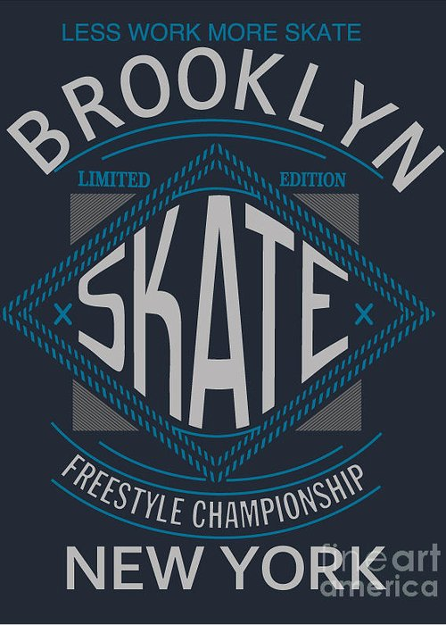 Freestyle Greeting Card featuring the digital art Skate Board Typography, T-shirt by Braingraph