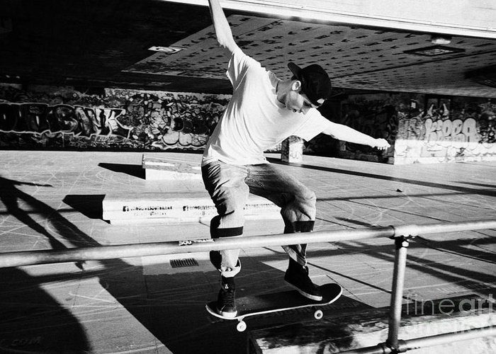 Skateboard Greeting Card featuring the photograph skateboarder at the undercroft skate park of the southbank centre London England UK by Joe Fox