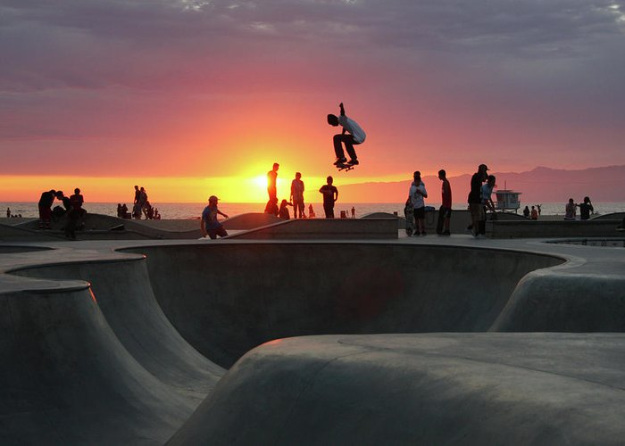 Expertise Greeting Card featuring the photograph Skateboarding At Venice Beach by Mgs