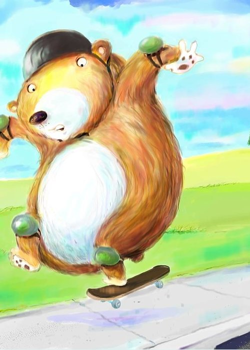 Skateboard Greeting Card featuring the digital art Skateboarding Bear by Scott Nelson