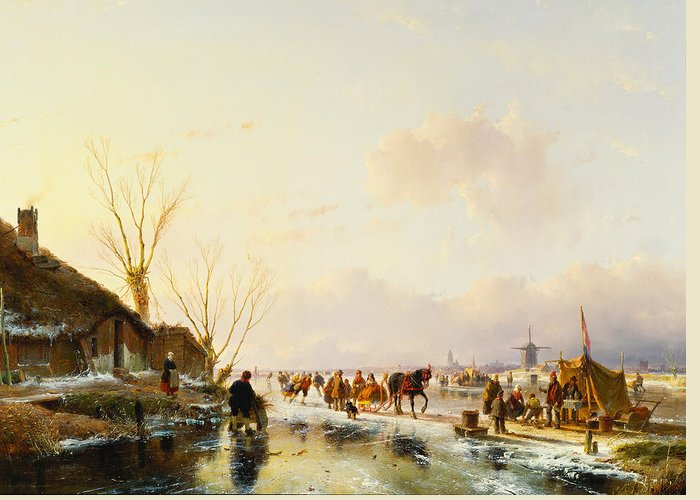 Sledge Greeting Card featuring the painting Skaters By A Booth On A Frozen River by Andreas Schelfhout