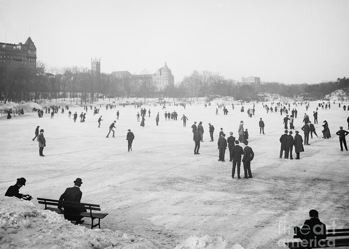 Central Park Greeting Card featuring the photograph Skating In Central Park by Anonymous