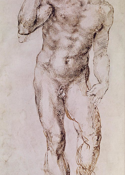 Nude Greeting Card featuring the painting Sketch Of David With His Sling by Michelangelo Buonarroti