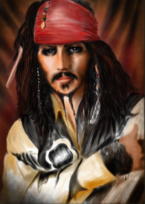 Johnny Depp Greeting Card featuring the drawing Sketching A Pirate... by Alessandro Della Pietra