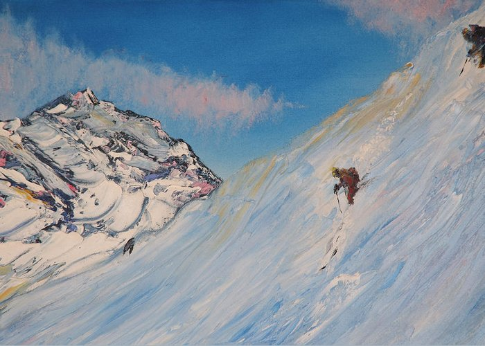 Ski Greeting Card featuring the painting Ski Alaska Heli Ski by Gregory Allen Page