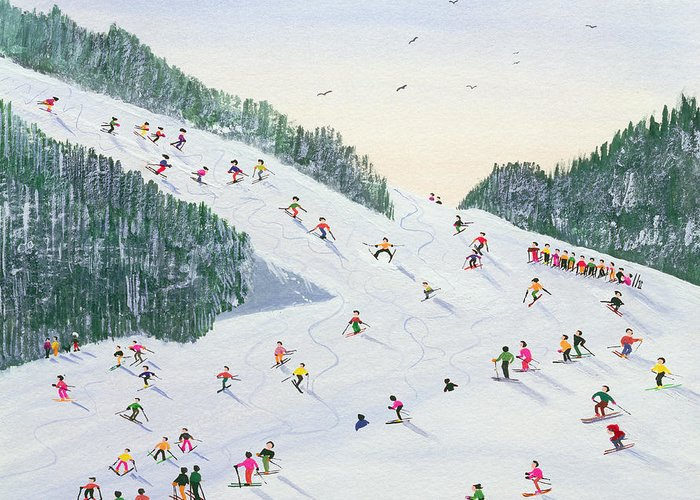 Landscape; Ski School; Naive; Evening; Snow Greeting Card featuring the painting Ski Vening by Judy Joel