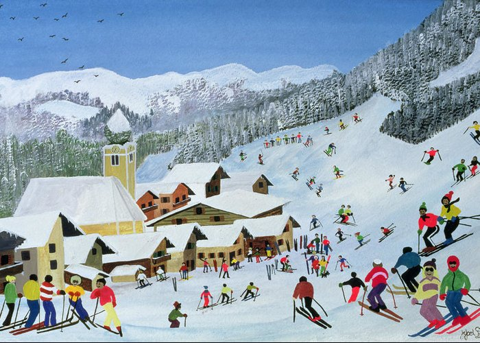 Snow; Skiing; Mountain Greeting Card featuring the painting Ski Whizzz by Judy Joel