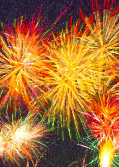Fireworks Greeting Card featuring the digital art Skies Aglow With Fireworks by Mark E Tisdale
