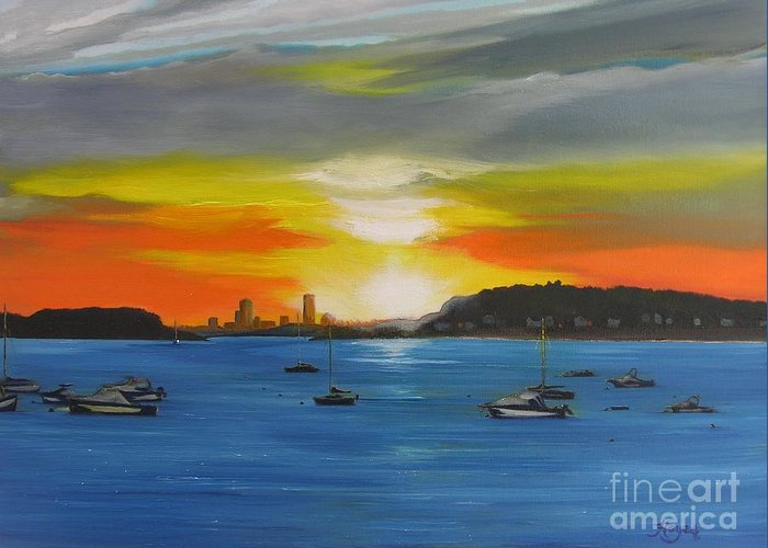 Boston Greeting Card featuring the painting Skies Over The City by Barbara Hayes