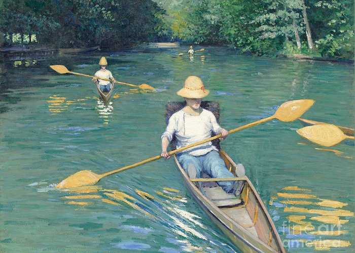 Impressionist; Rowing; Boat; River; Male; Leisure; Summer; Sport; Water; Reflection; Hat Greeting Card featuring the painting Skiffs by Gustave Caillebotte
