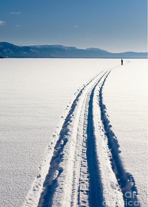 Abandonment Greeting Card featuring the photograph Skiing Person On Frozen Lake by Stephan Pietzko