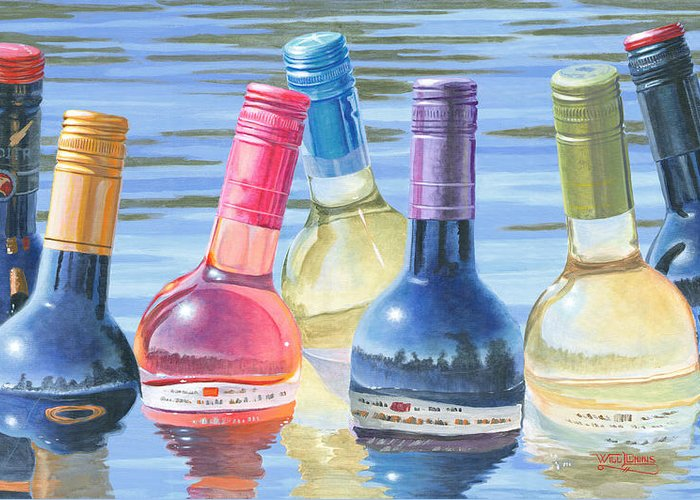 Wine Art Greeting Card featuring the painting Skinny Dipping by Will Enns