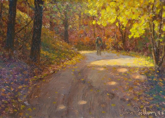Autumn Greeting Card featuring the painting Skippers Autumn by Terry Perham