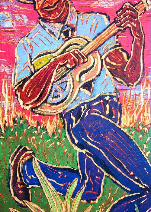 Blues Greeting Card featuring the painting Skippin' Blues by Robert Ponzio