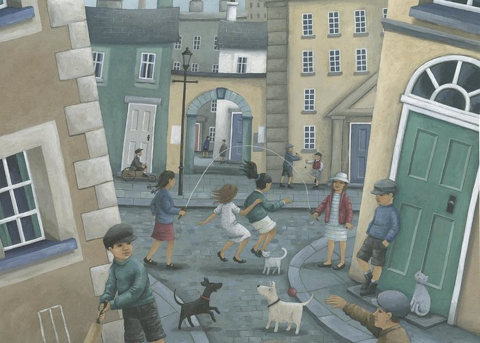 Peter Adderley Greeting Card featuring the photograph Skipping By The Green Door by Peter Adderley