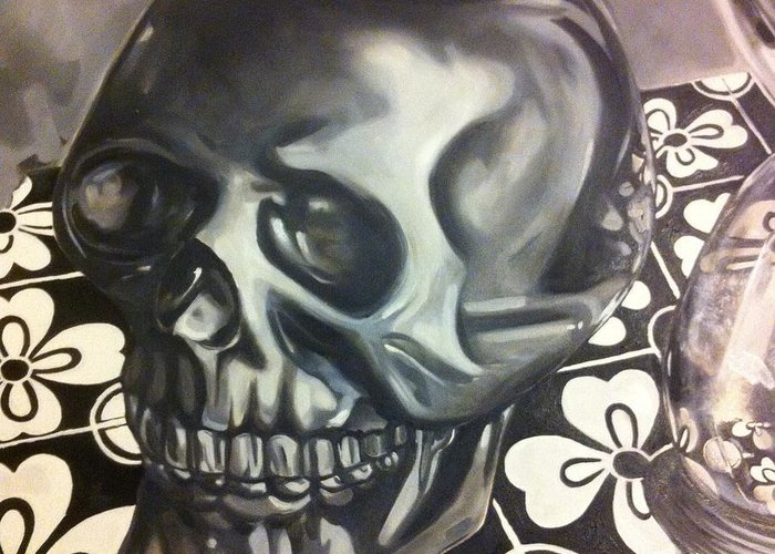 Skull Greeting Card featuring the painting Skull And Hourglass by Stacey Sherman