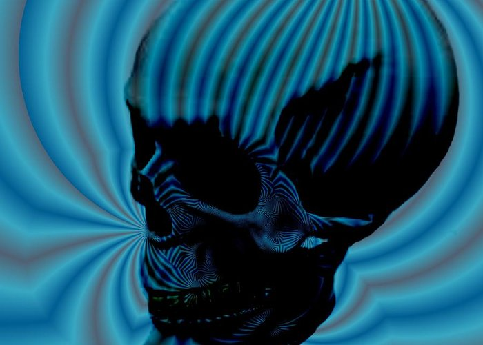 <a> Abstract Greeting Card featuring the digital art Skull Aura Blue by Jason Saunders