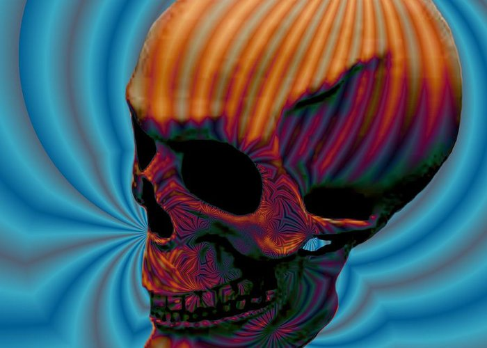 <a> Abstract Greeting Card featuring the digital art Skull Aura Orange by Jason Saunders