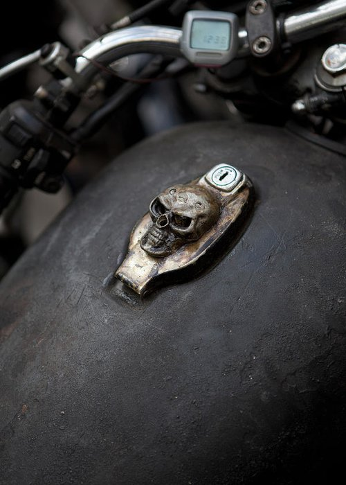 Berlin Greeting Card featuring the photograph Skull Design On Motorcycle Ignition by Andreas Schlegel