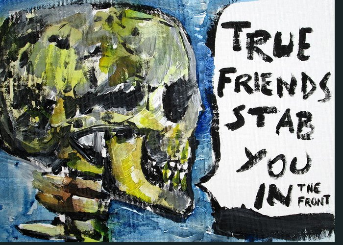Skull Greeting Card featuring the painting Skull Quoting Oscar Wilde.2 by Fabrizio Cassetta