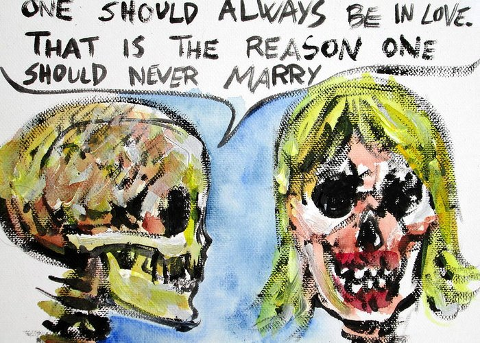 Skull Greeting Card featuring the painting Skull Quoting Oscar Wilde.5 by Fabrizio Cassetta