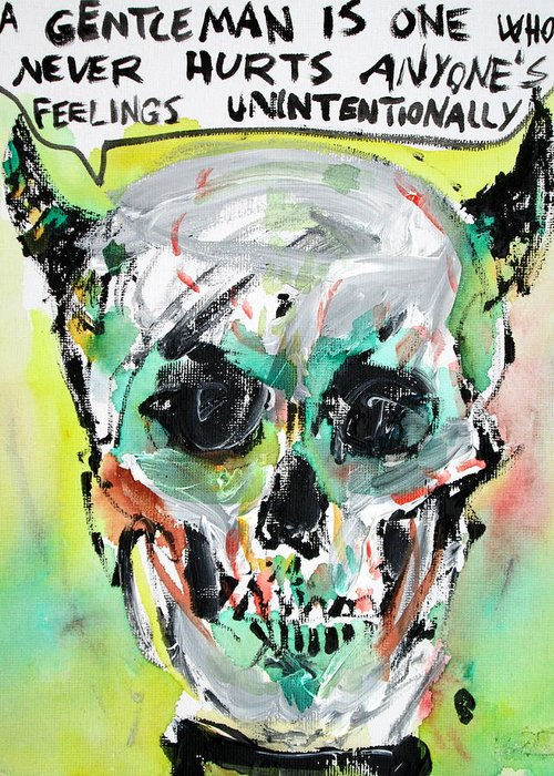 Skull Greeting Card featuring the painting Skull Quoting Oscar Wilde.8 by Fabrizio Cassetta