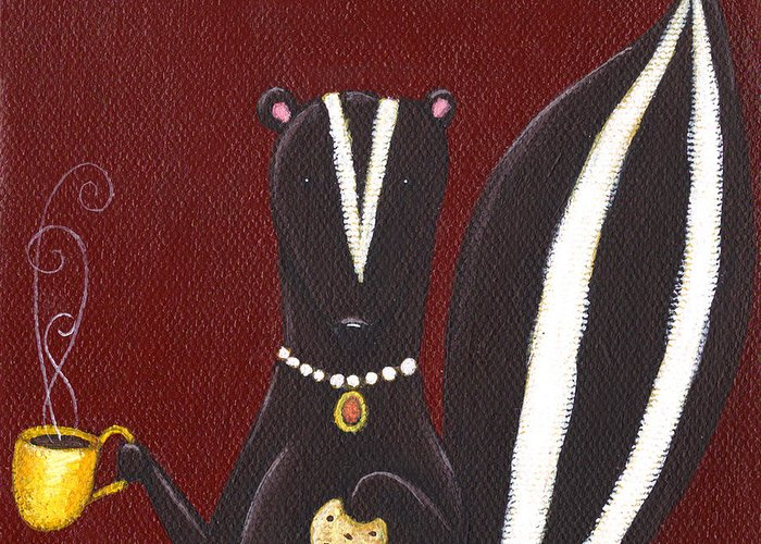 Skunk Greeting Card featuring the painting Skunk with Coffee by Christy Beckwith