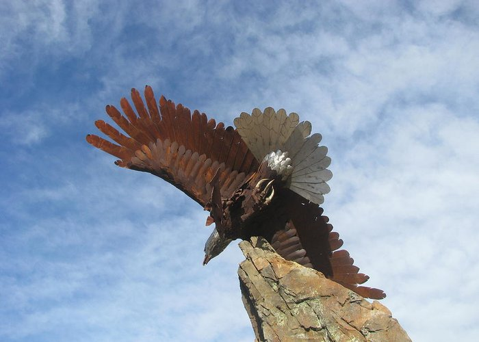 Eagle Sculpture Sky Clouds Scenery Greeting Card featuring the photograph Sky Eagle by Susan Ince