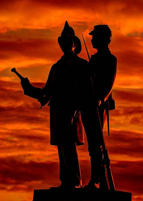 Civil War Greeting Card featuring the photograph Sky Fire - 73rd Ny Infantry Fourth Excelsior Second Fire Zouaves-b1 Sunrise Autumn Gettysburg by Michael Mazaika